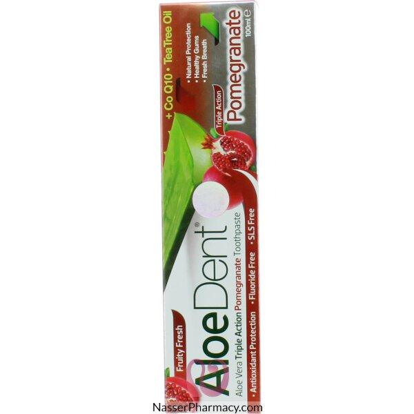 الودينت  Aloedent - معجون أسنان ثلاثي الفعالية بالرمان 100مل