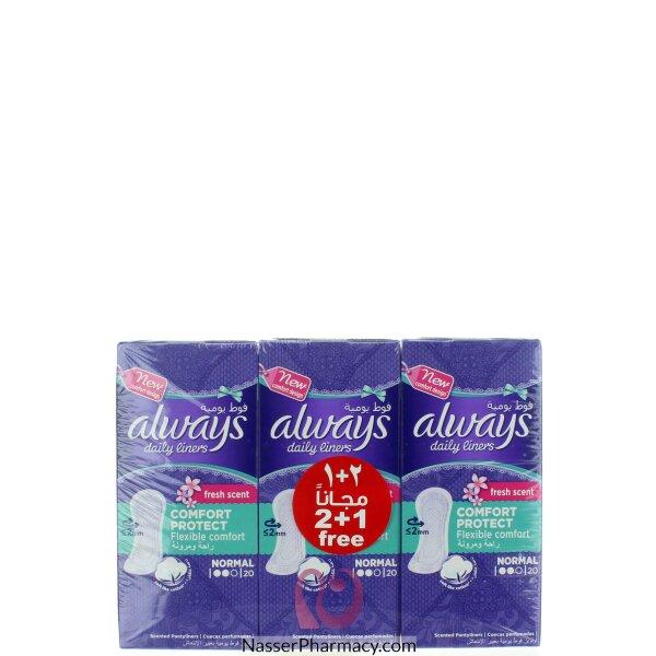 أولويز Always- فوط صحية يومية- حماية عادية برائحةمنعشة - عرض (2+1)- عدد 20 فوطة