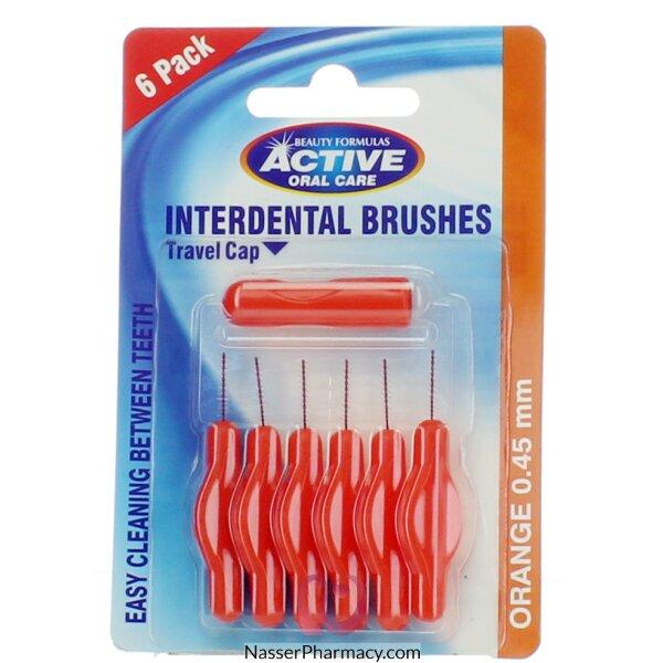 Beauty Formulas Active Interdental Brushes Orange 0.6mm 6 Pack