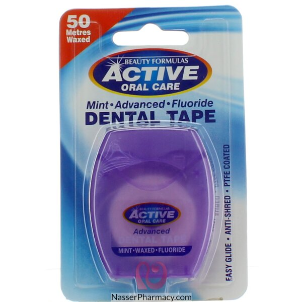 Beauty Formulas Active Oral Care Mint Advanced Fluoride Dental Tape 50 Metres Waxed