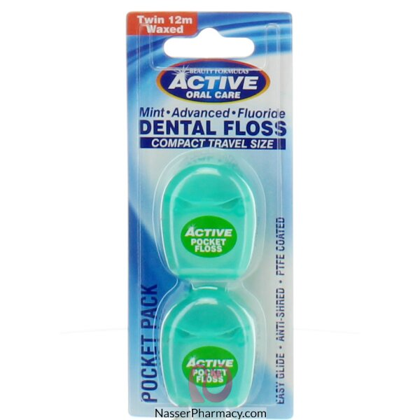 Beauty Formulas Active Oral Care Mint Advanced Fluride Dental Floss Compact Travel Size Twin 12m Wax