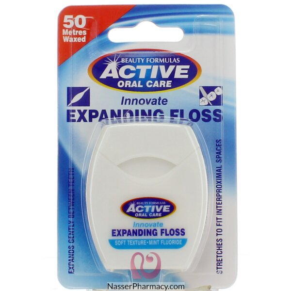 Beauty Formulas Active Oral Care Mint Innovate Expanding Floss 50 Metres Waxed