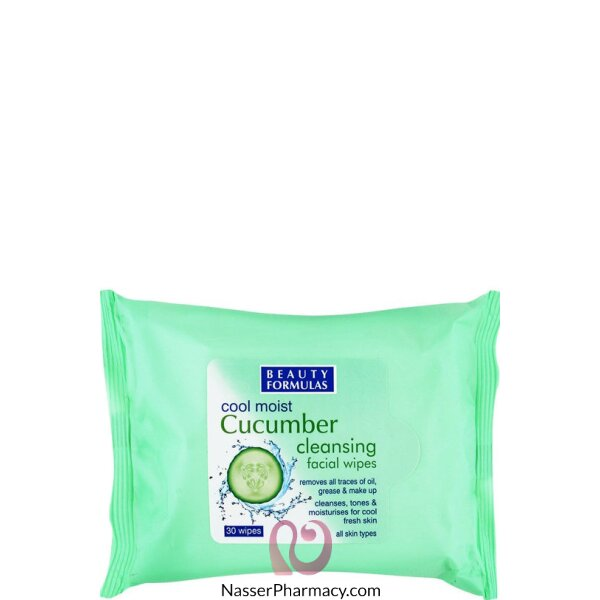 Beauty Formulas Cool Moist Cucumber Cleansing Facial Wipes - 30