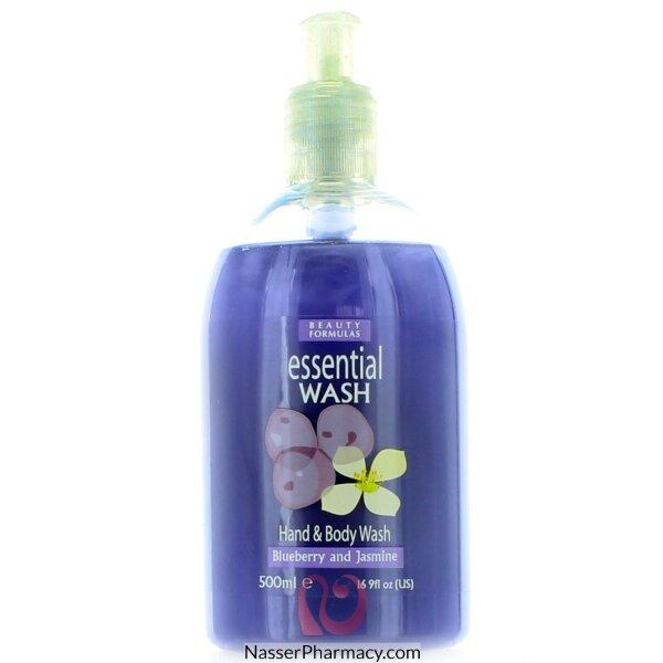 Beauty Formulas Essential Wash Hand & Body Wash Blueberry & Jasmine - 500ml