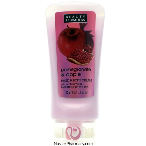 Beauty Formulas Pomegranate & Apple Hand & Body Cream -225ml