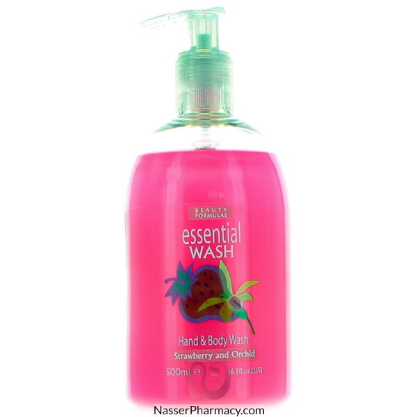 Beauty Formulas Essential Wash Hand & Body Wash Strawberry & Orchid - 500ml