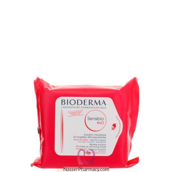 بيوديرما (bioderma)  مناديل( Sensibio H2o)  25 منديل تنظف البشرة و تزيل عنها الماكياج