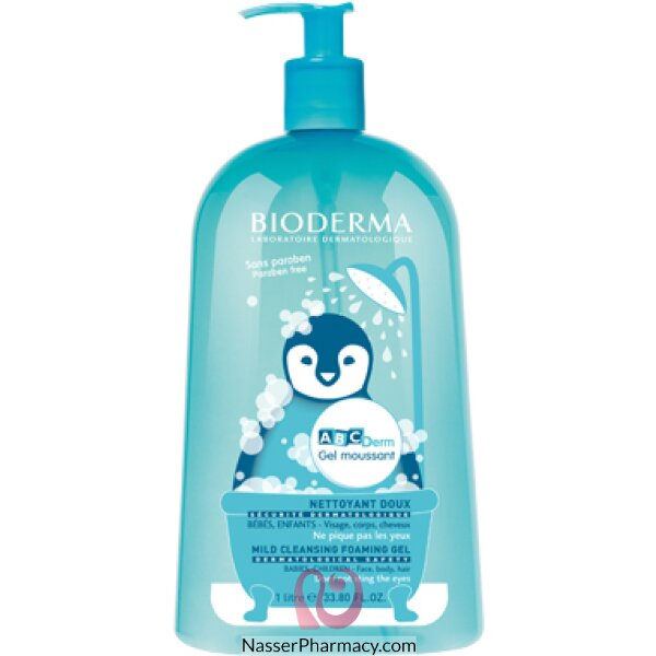 بيوديرما (bioderma)  Abcderm Moussant  جل للأطفال  خالي من الصابون  للتنظيف اليومي  واحد لتر