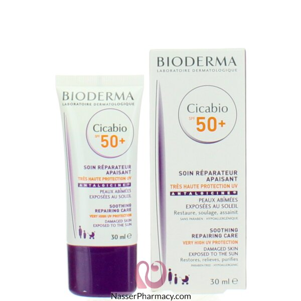 بيوديرما (bioderma) Cicabio Spf 50 كريم  2 في 1 يصلح ويحمي البشرة التالفة من أشعة الشمس للحد من التندب 30مل