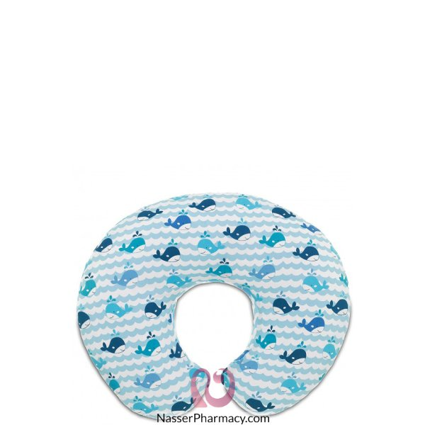 Chicco Boppy Pillow With Cotton Slipcover Blue Whales