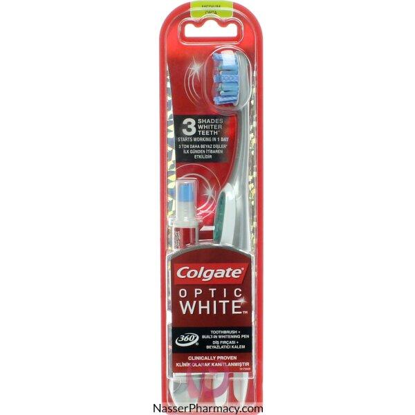 فرشاة أسنان كولجيت 360 أوبتيك وايت + قلم التبييض