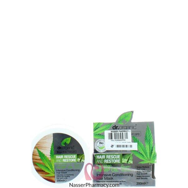 د.اورجانيك Dr Organic   ماسك للشعر بخلاصة زيت نبات القنب - 200 مل
