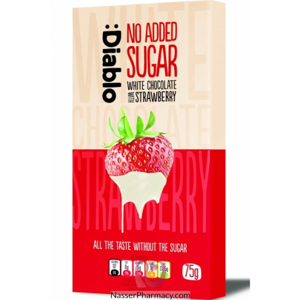 Diablo Sugar Free  White Chocolate Bar With Strawberry 75g