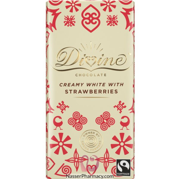 Divine White Chocolate With Strawberries 100g