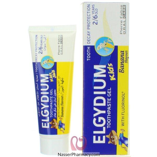 Elgydium Kids Toothpaste Gel With Fluorinol 2 - 6 Year Olds Banana Flavor 50 Ml