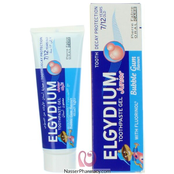 Elgydium Toothpaste Gel Junior Decay Protection 7/12 Years Old Bubble Gum 50ml