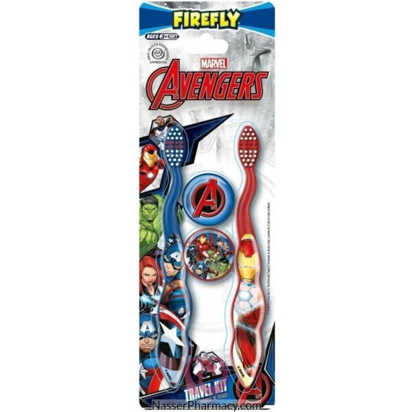 Firefly Avengers Toothbrush With Cap - Twin Pack