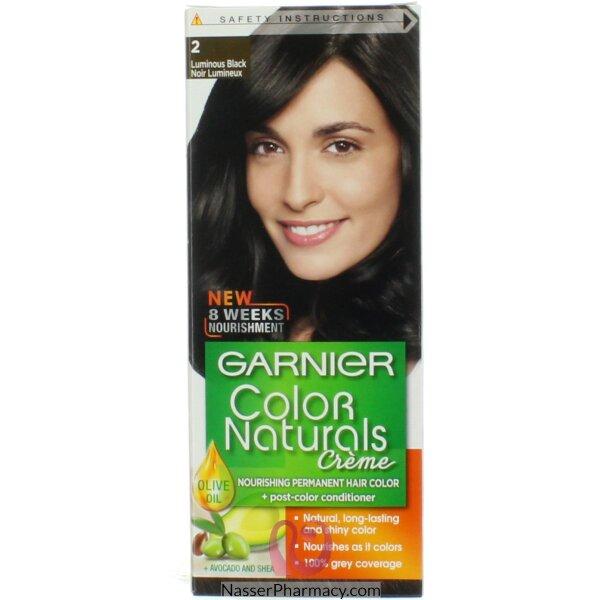 غارنييه كولور ناتشرلز كريم صبغة دائمة مغذية  للشعر - أسود لامع  2.0