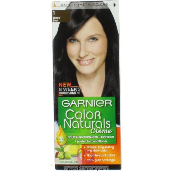 غارنييه كولور ناتشرلز كريم صبغة دائمة مغذية  للشعر - أسود 1