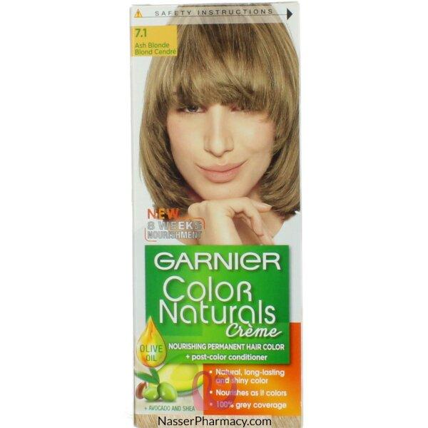 غارنييه كولور ناتشرلز كريم صبغة دائمة مغذية  للشعر - أشقر رمادي  7.1