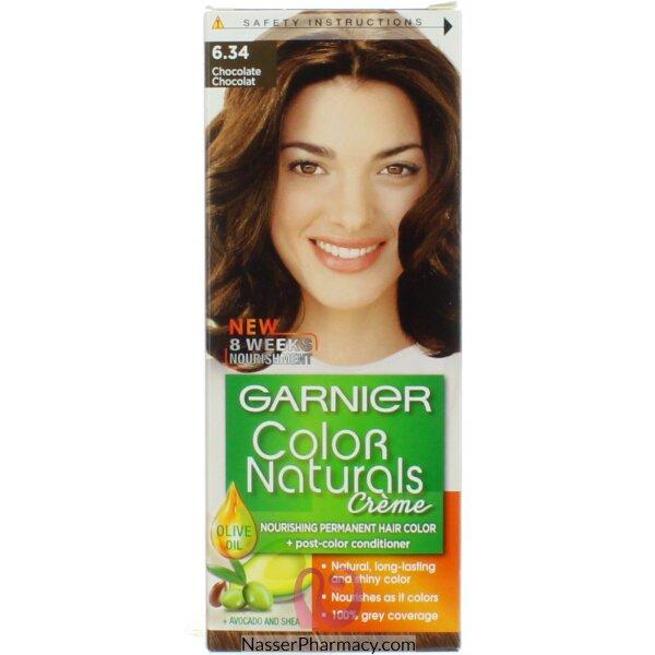 غارنييه كولور ناتشرلز كريم صبغة دائمة مغذية  للشعر - بني شوكولاته 6.34