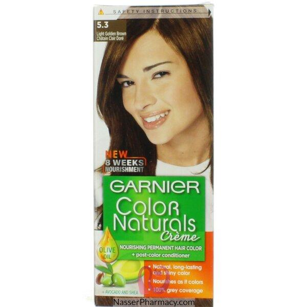 غارنييه كولور ناتشرلز كريم صبغة دائمة مغذية  للشعر - بني فاتح ذهبي 5.3