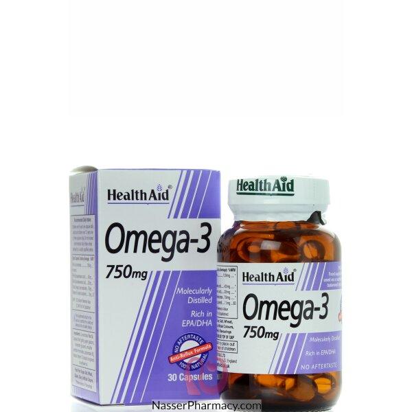 هيلث ايد Health Aid  أوميجا 3 تركيز 750 مجم - 30كبسولة