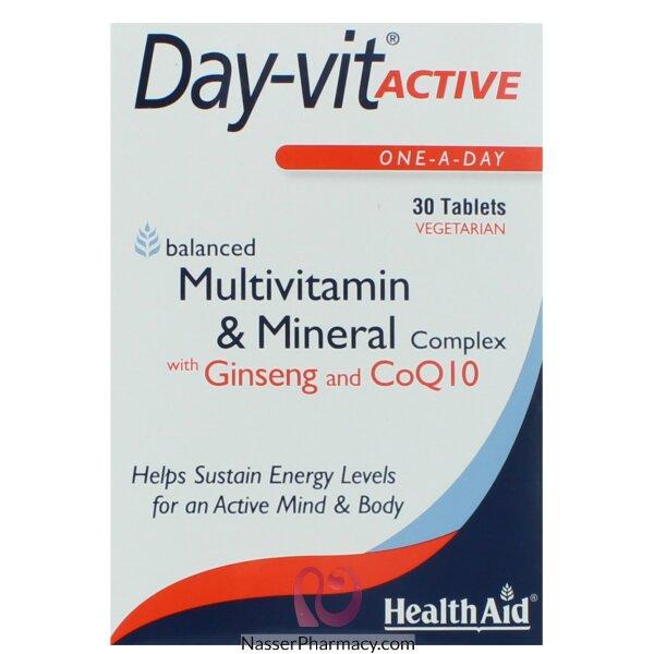هيلث ايد Health Aid  داى فيت أكتيف  فيتامينات و معادن مع الجينسينج - 30قرص