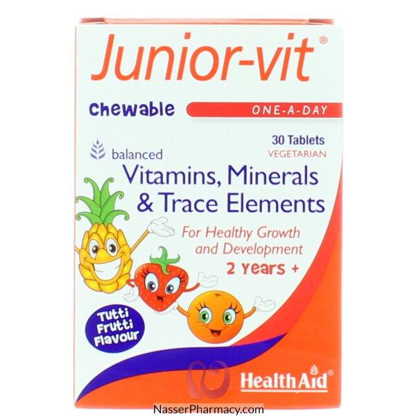 هيلث ايد Health Aid- فيتامينات الطفولة - مضغوطات قابلة للمضغ (نكهة توتي فروتي) عمر سنتين وأكثر 30 مضغوطة