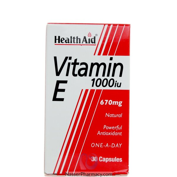 هيلث ايد Health Aid  فيتامين اي تركيز 1000 وحدة - 30 كبسولة
