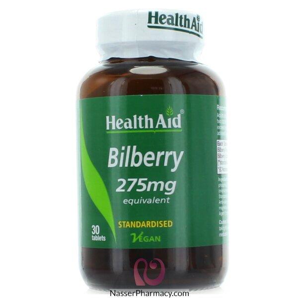 هيلث ايد  Health Aid Bilberry Berry مكمل غذائي 275 مجم - 30قرص