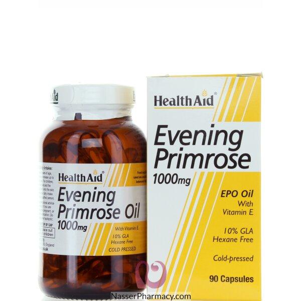 هيلث ايد Healthaid زيت البربيمروز مكمل غذائي 1000مجم مع فيتامين اي - 90كبسولة
