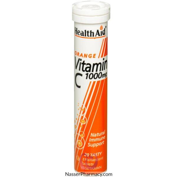 هيلث ايدhealth Aid فوار فيتامين سي 1000 مجم بطعم البرتقال - 20قرص