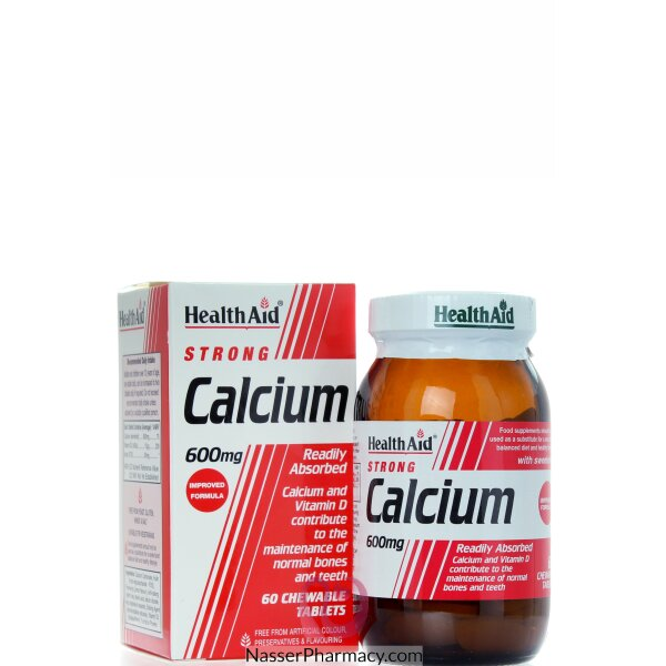 Health Aid Strong Calcium 600mg - 60chewable Tablets