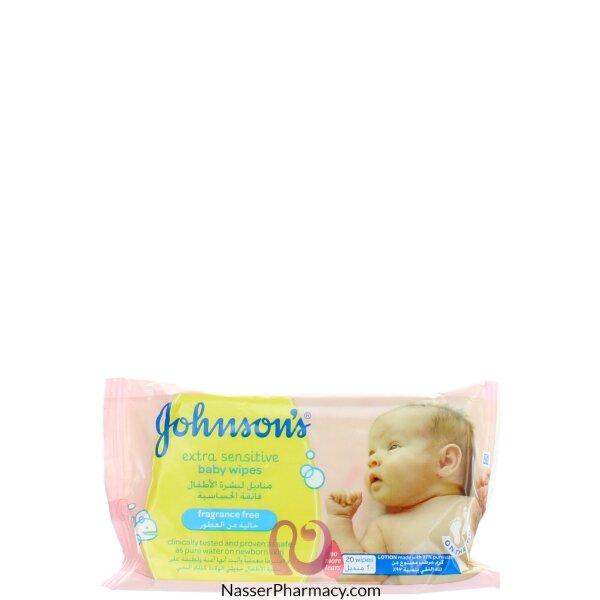 جونسون   Johnson's  مناديل البشرة فائقة الحساسية للأطفال 20 منديل