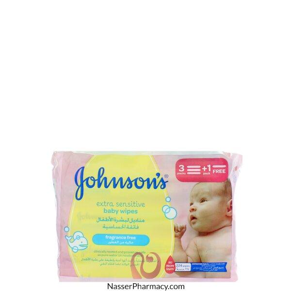 جونسون    Johnson's مناديل البشرة فائقة الحساسية للأطفال 224  منديل
