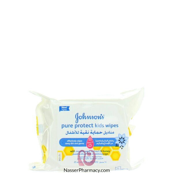 Johnson's  Baby Pure Protect Kids Wipes 25's