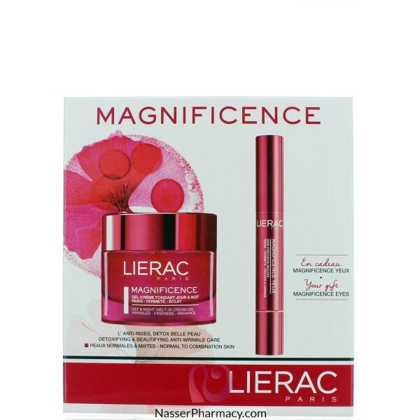 ليراك (lierac Magnificence  ) كريم-جل مرطب منقي للبشرة صباحا و مساء + كريم عناية بمنطقة حول العين