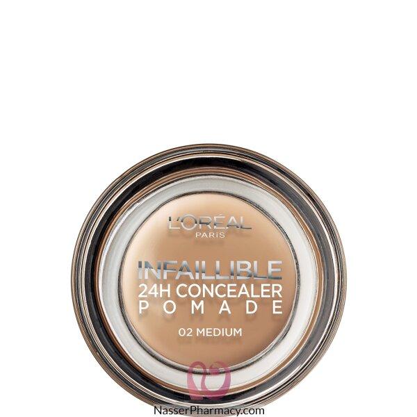 لوريال L'oreal بوميد Pomade خافي العيوب، لون وسط 02 Medium، وزن 15 جم