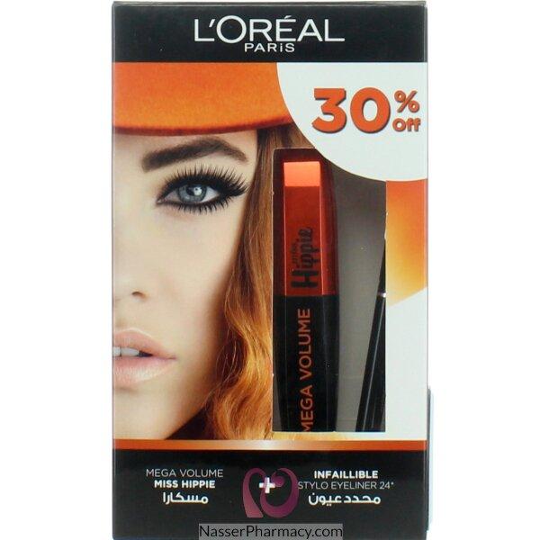L'oréal Mega Volume Miss Hippie  Mascara +infallible Stylo Eyeliner Black 30%off