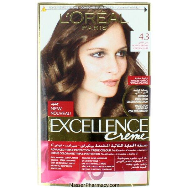 Loreal Excellence Crème 4.3 Golden  Chestnut Brown