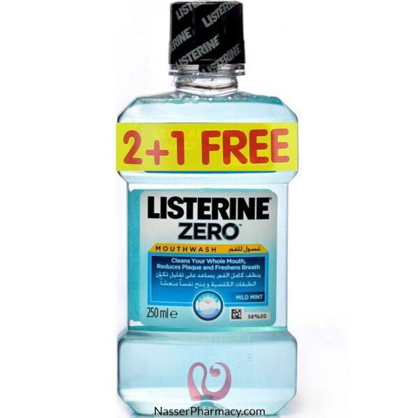 Listerine Mouth Wash Zero 250ml 2+1 Free