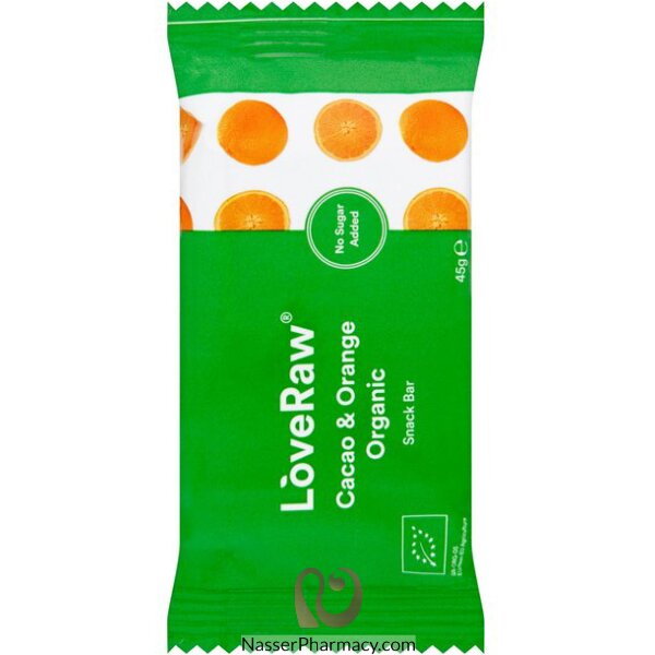 لوف رو Loveraw  بار من الكاكاو  الخام الطبيعي والبرتقال - وجبة خفيفة 45 جرام