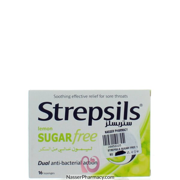 ستربسيلز Strepsils   ليمون خال من السكر 16 قرص