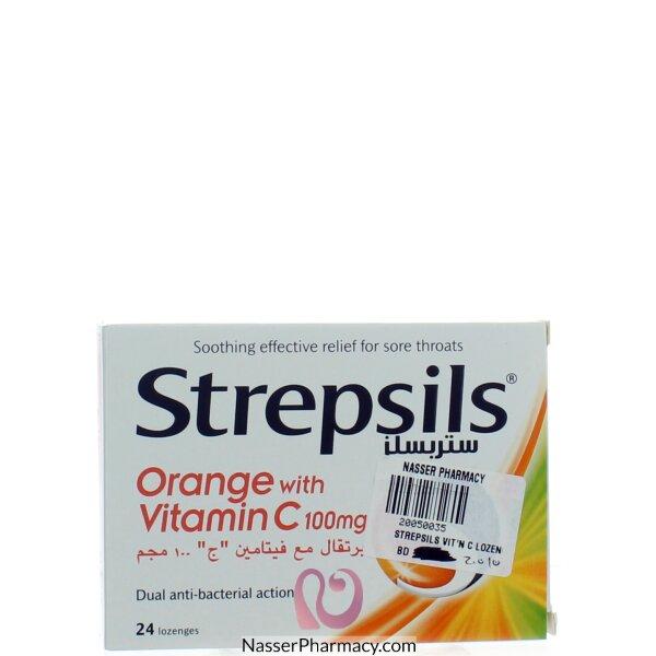 ستريبسيلز Strepsils برتقال+ فيتامين سي 24 قرص