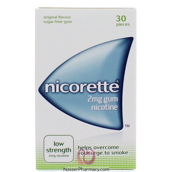 نيكوريت Nicorette علكة 2 ملغ ( 30 قطعة)