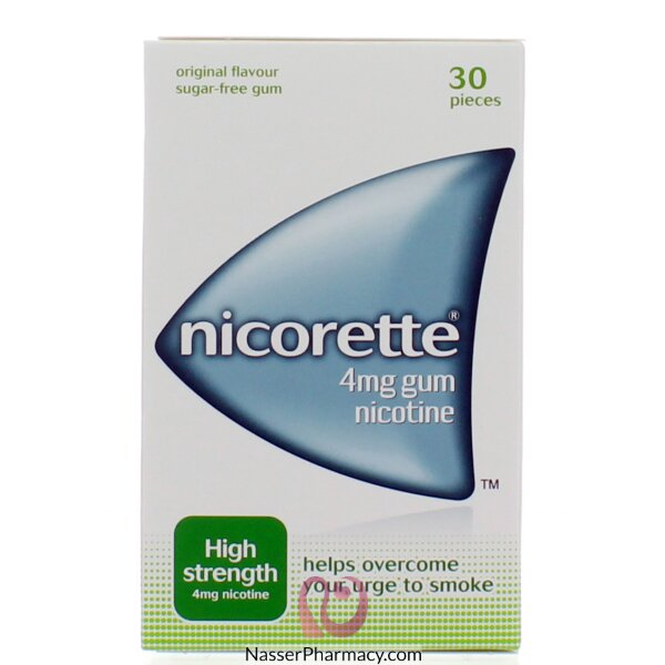 نيكوريت Nicorette  علكة 4 ملغ ( 30 قطعة) خالى من السكر