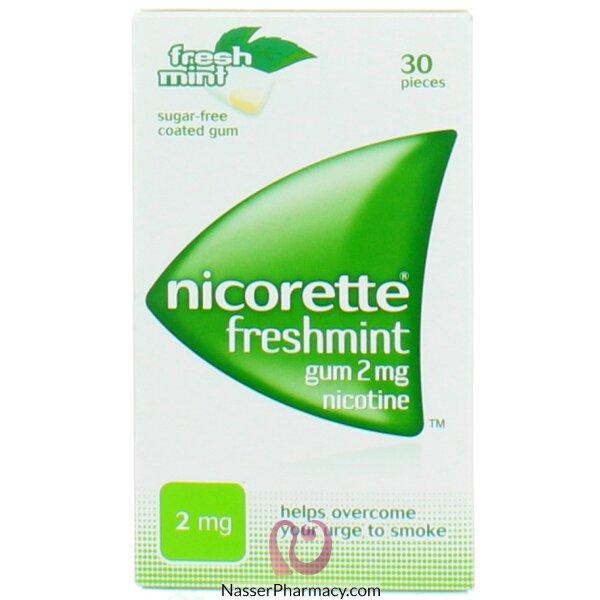 نيكوريت (nicorette) لبان بنكهة النعناع  (2 مجم)  30 قطعة