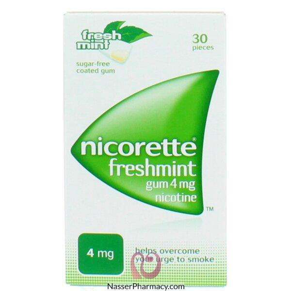 نيكوريت (nicorette) لبان بنكهة النعناع  (4 مجم) 30 قطعة