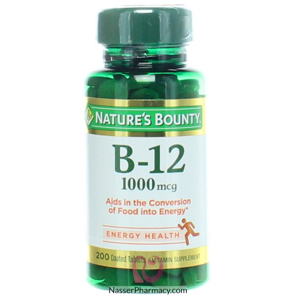 ناتشرز باونتي Nature&#39s Bounty فيتامين ب-12، 1000 ميكروجرام، 200 قرص مغلف